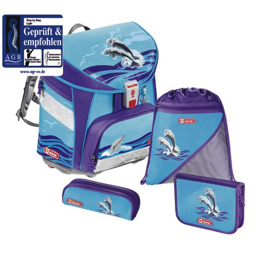 Step by Step Light Happy Dolphins Schulranzen Set 4tlg.