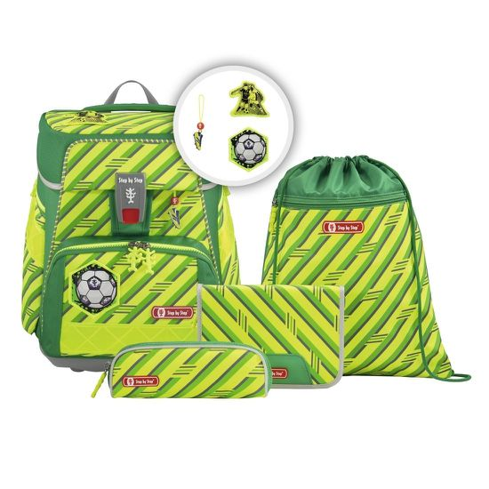 Step by Step Space Neon Funky Soccer Sonderedition Schulranzen Set 5tlg.