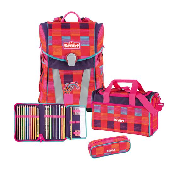 Scout Sunny Pink Rainbow Schulrucksack Set 4tlg.