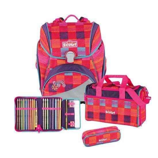 Scout Alpha Pink Rainbow Schulrucksack Set 4tlg.