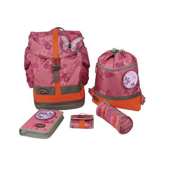 School Mood - Schulranzen Set 6 tlg.- Fly II - Schmetterling EMB pink flower