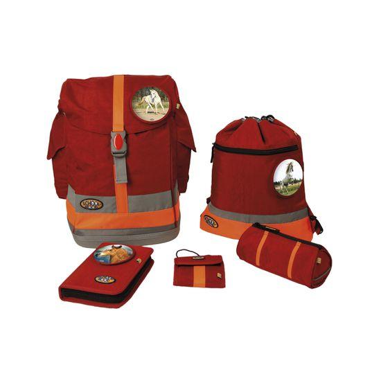 School Mood Fly II Schoolbag Maxi Pferd rot crinkle Schulranzen Set 6tlg.
