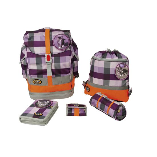 School Mood Fly II Schoolbag Maxi Katze purple check Schulranzen Set 6tlg.