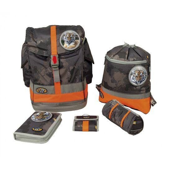 School Mood Schulranzen Set 6tlg. Fly II Schoolbag Maxi Tiger mud