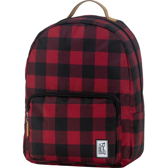 The Pack Society Print Classic Backpack Black And Red Checks Rucksack