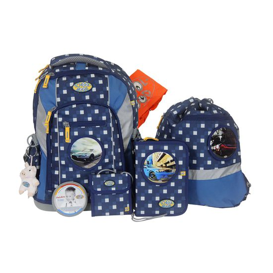 School Mood Loop Karo Blue Auto Schulrucksack Set 7tlg.