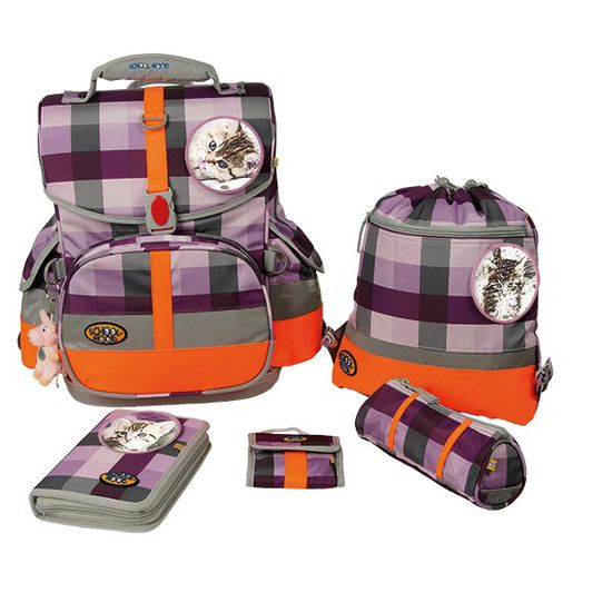 School Mood - Schulranzen Set - Timeless I - Kitty purple check