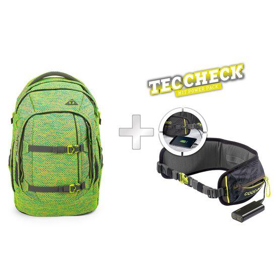 Satch Pack Flyknit Green Hype Schulrucksack mit TecCheck-Hüftgurt