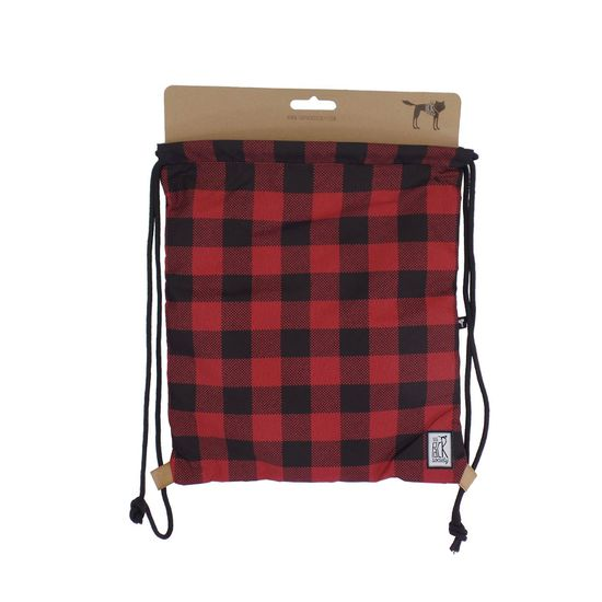 The Pack Society Gymsack Print Classics Black and Red Checks Allover