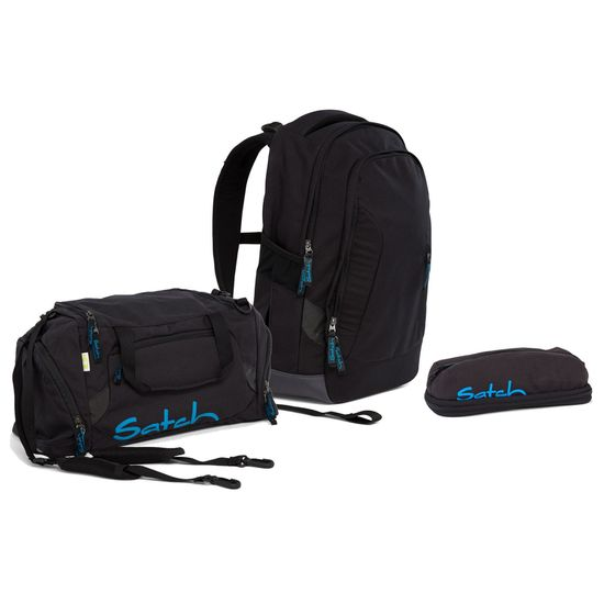 Satch Sleek Black Bounce Schulrucksack Set 3tlg.
