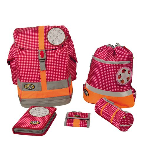 School Mood Fly Pink Check Patchies Karo Pinky Schulranzen Set 6tlg.