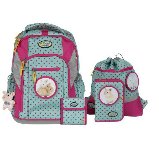 School Mood Loop Hase Pink Dots Schulranzen Set 7 tlg.