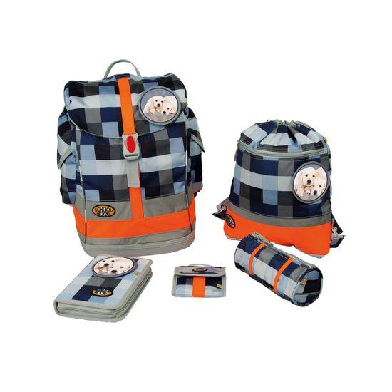 School Mood - Schulranzen Set 6 tlg. - Fly II - Schoolbag Maxi - Labradorwelpen blue checked